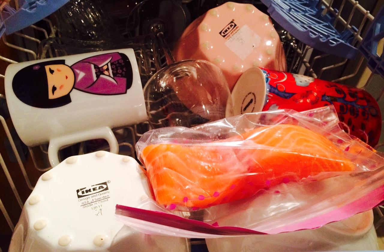 Pave de saumon au lave vaisselle ben ouais ca s 39 fait - Cuisiner au lave vaisselle ...