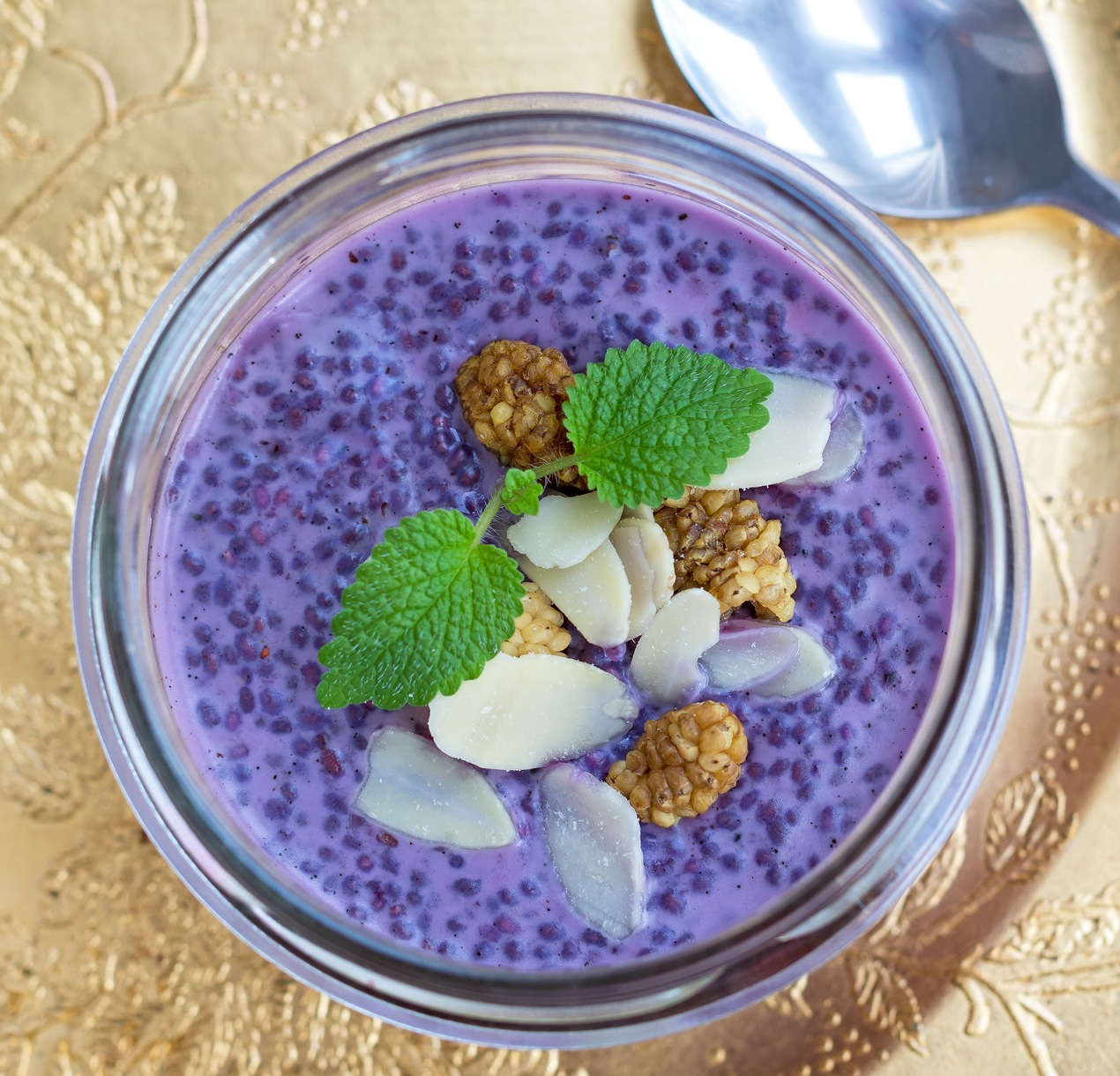 Purple blueberry chia pudding with topping